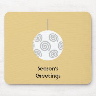 Chuchería del navidad blanco. En color del oro Mouse Pads