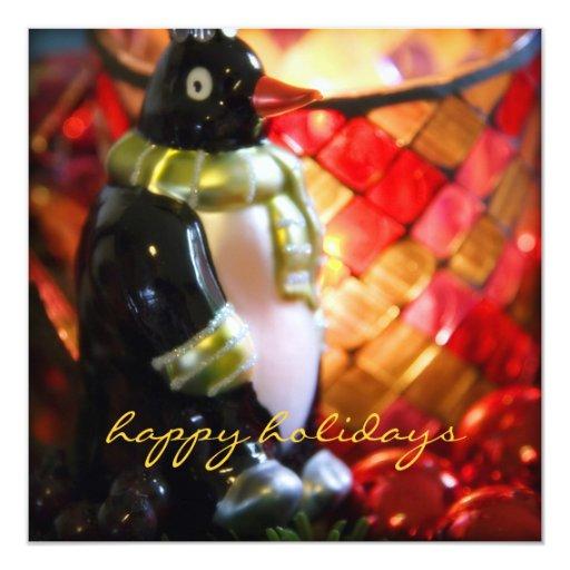 """Chuchería del pingüino · Tarjeta de Navidad Invitación 5.25"""" X 5.25"""""""