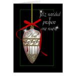 chuchería española del navidad blanco de la perla felicitacion