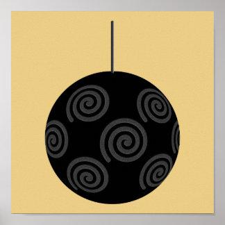 Chuchería negra y gris del navidad en el oro póster