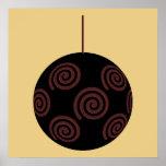 Chuchería negra y roja del navidad en color oro posters