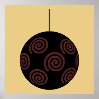 Chuchería negra y roja del navidad en color oro póster