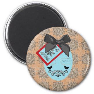 Chuchería y arco del navidad del estilo del arte imán redondo 5 cm