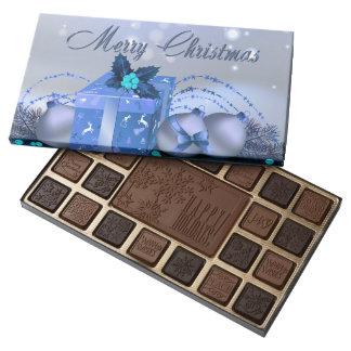 Chucherías azules de las Felices Navidad Caja De Bombones Variados Con 45 Piezas