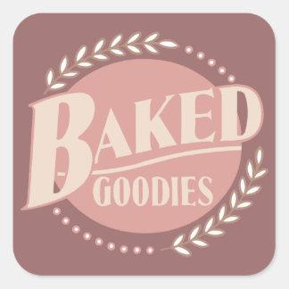 Chucherías cocidas - panadería de la hornada del pegatina cuadrada