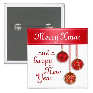 Chucherías del árbol de Navidad rojas + sus ideas Pin Cuadrado