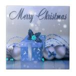 Chucherías del azul de las Felices Navidad Tejas Cerámicas