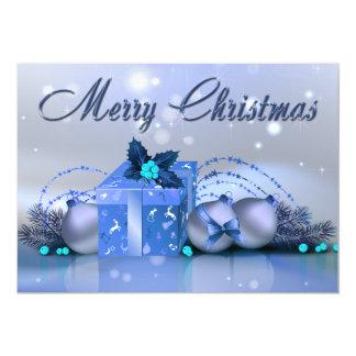"""Chucherías del azul de las Felices Navidad Invitación 5"""" X 7"""""""