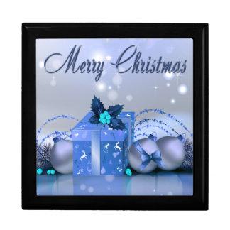 Chucherías del azul de las Felices Navidad Joyero Cuadrado Grande