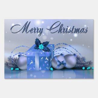 Chucherías del azul de las Felices Navidad Letreros
