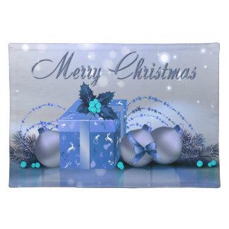 Chucherías del azul de las Felices Navidad Manteles