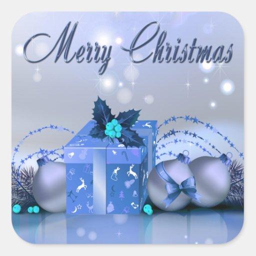 Chucherías del azul de las Felices Navidad Pegatina Cuadrada