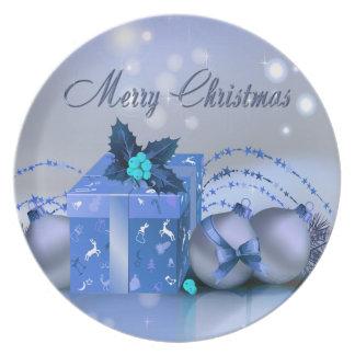 Chucherías del azul de las Felices Navidad Platos De Comidas