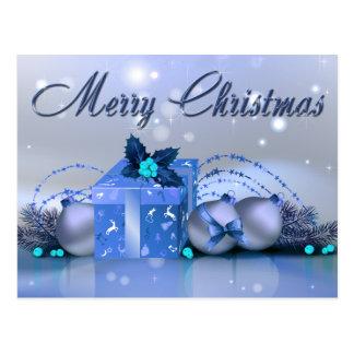 Chucherías del azul de las Felices Navidad Postal