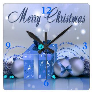 Chucherías del azul de las Felices Navidad Relojes De Pared