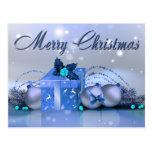 Chucherías del azul de las Felices Navidad Postales