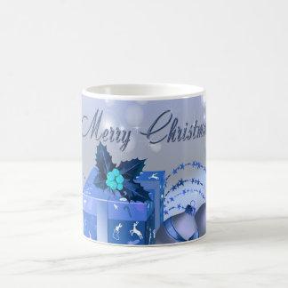Chucherías del azul de las Felices Navidad Taza