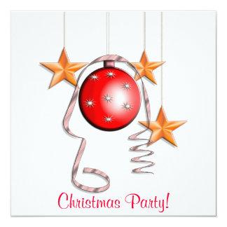 Chucherías del navidad, estrellas y fiesta de invitación 13,3 cm x 13,3cm