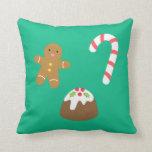 Chucherías del navidad, hombre de pan de jengibre, almohada