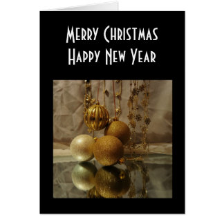 Chucherías del oro de la Feliz Año Nuevo de las Tarjeta Pequeña