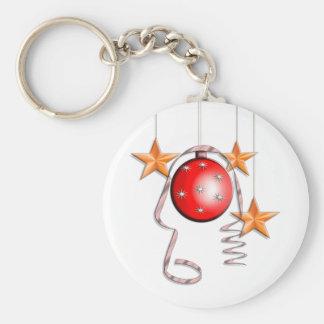 Chucherías, estrellas y malla del navidad llavero redondo tipo pin
