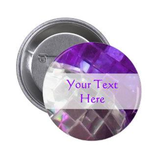 """Chucherías púrpuras botón de """"su texto"""" pin redondo de 2 pulgadas"""