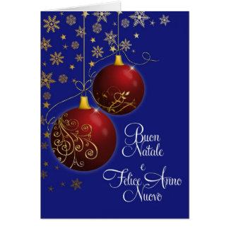 chucherías rojas del navidad con el saludo tarjeta de felicitación