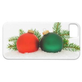 Chucherías rojas y verdes del navidad iPhone 5 Case-Mate funda