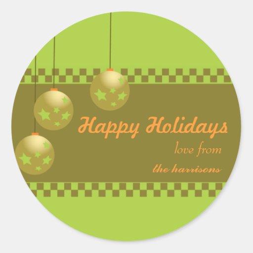 Chucherías verdes - pegatinas del navidad etiquetas redondas