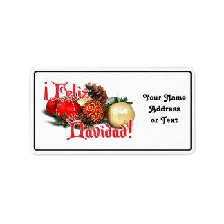 Chucherías y conos del pino - Feliz Navidad Etiqueta De Dirección