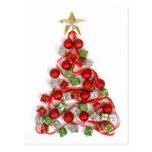 Chucherías y postal del árbol de navidad de los pr