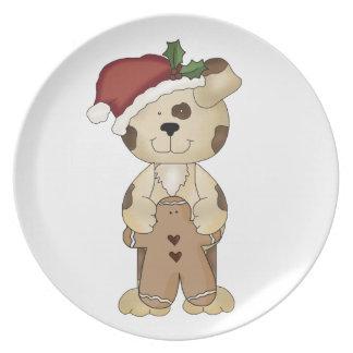 Chucho-Perro del navidad en el gorra de Santa Plato Para Fiesta