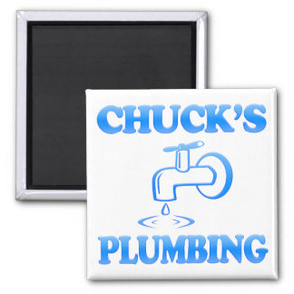 Chuck's Plumbing 2 Inch Square Magnet