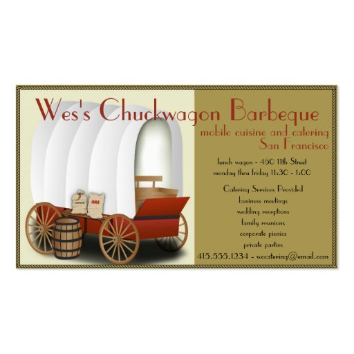 Chuckwagon food truck catering business business card zazzle for Catering business cards samples
