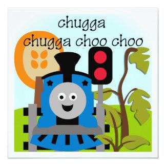 "Chugga Choo Choo Train Invitations 5.25"" Square Invitation Card"