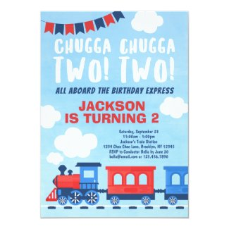 Chugga Chugga TWO TWO Boys Train 2nd Birthday Invitation