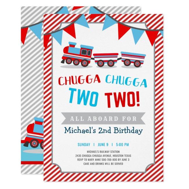 Chugga chugga two two train birthday invitation