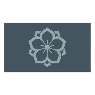 Chuinyaekikyo Japanese Kamon Cherry Blossom Blue Double-Sided Standard Business Cards (Pack Of 100)