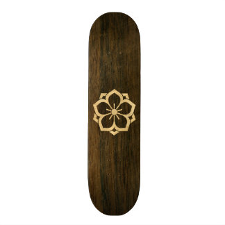 Chuinyaekikyo Japanese Kamon Cherry Blossom Wood Skateboard Deck