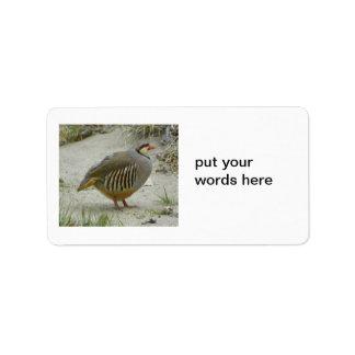 Chukar Partridge game bird hunting sport Custom Address Label