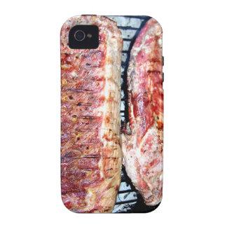 Chuletas de cerdo del cerdo en la parrilla iPhone 4/4S carcasas