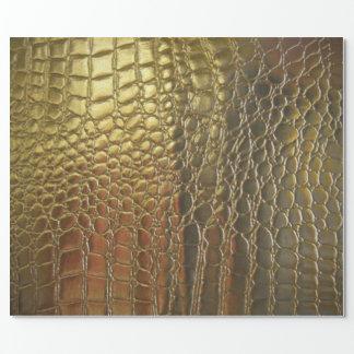 Chulo de cuero exótico del cocodrilo del oro papel de regalo