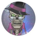 Chulo del cráneo con el gorra, los vidrios, la cad platos para fiestas