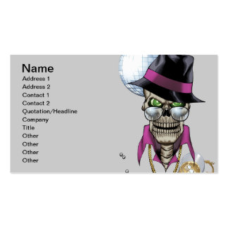 Chulo del cráneo con el gorra, los vidrios, la tarjetas de visita