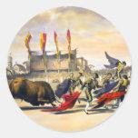 Chulos que juega la Bull Pegatinas Redondas