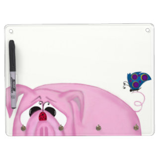Chumley The Pig And His Visitors Dry Erase Board With Keychain Holder