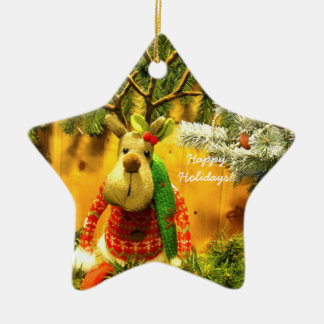 """Chump"" Happy Holidays ceramic star ornament"