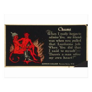 Chums World War I Lusitania Devil Cartoon Postcard
