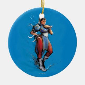 Chun-Li Hand on Hip Double-Sided Ceramic Round Christmas Ornament