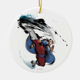 Chun-Li Kick Double-Sided Ceramic Round Christmas Ornament